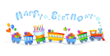 Happy birthday train Vectores