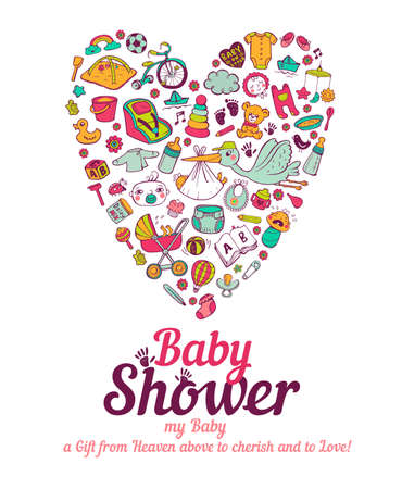 rattles: Baby shower announcement card in vector format Illustration