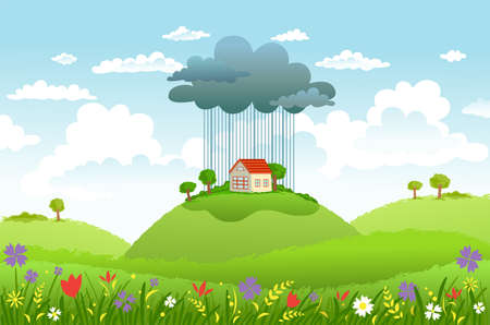 clouded sky: Cloud and rain over one house, while around good weather. Conceptual illustration Illustration