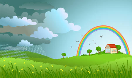 clouded sky: Landscape with the small house -  a rain  passed and the rainbow appeared. Illustration