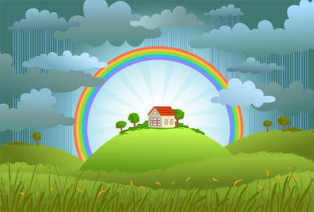 bad weather: The rainbow protects the small house from a rain and bad weather. conceptual illustration.