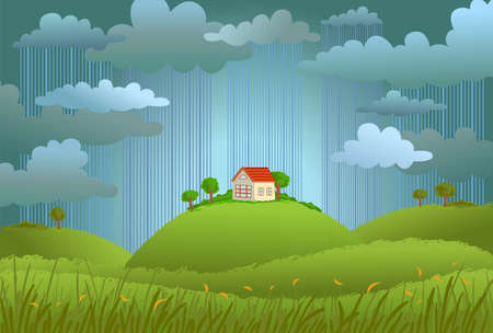 Landscape with the small house in rainy day, a vector illustration. Stock Illustratie