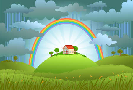 protects: The rainbow protects the small house from a rain and bad weather. conceptual illustration.
