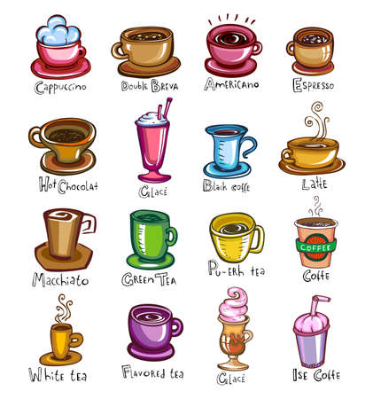 Set of twelve cups different types of coffee, vector illustration.