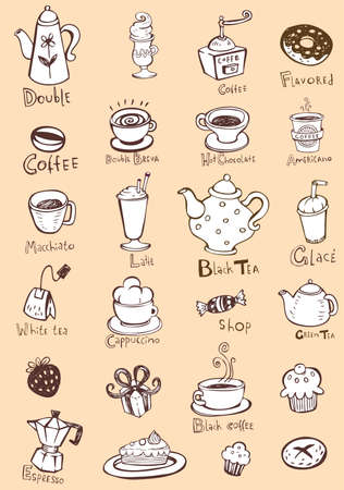 candy shop: Set of coffee and tea design elements in sepia color style