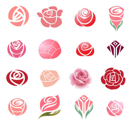 Set of rose flower design elements Ilustracja