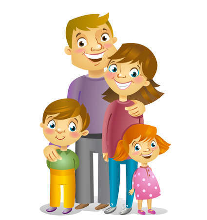 Portrait of four member family posing smiling together