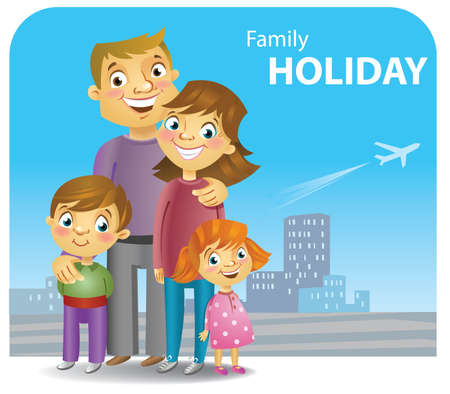 Four family members going for a trip, vector illustration. Vector