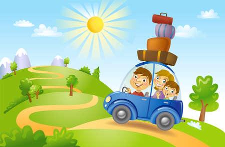 Familie reizen in de auto, vector illustratie