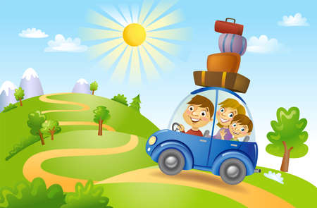 Family traveling in car, vector illustration 向量圖像