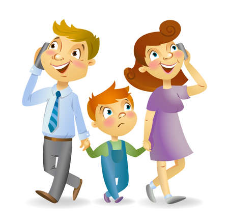 children talking: Young parents with children talking by phone Illustration