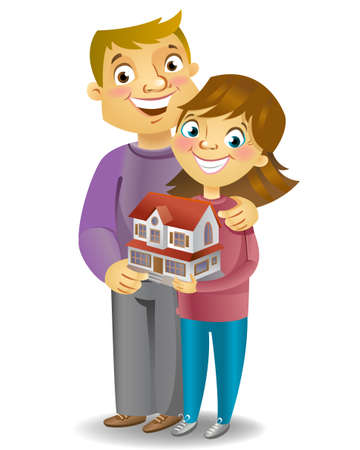 dream house: Couple dreaming to their house, vector illustration Illustration