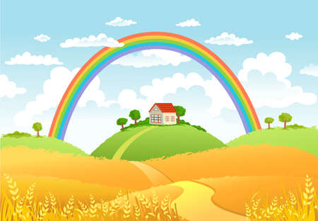 tranquil scene on urban scene: Rural scene with rainbow and yellow field, house and trees on sunny day