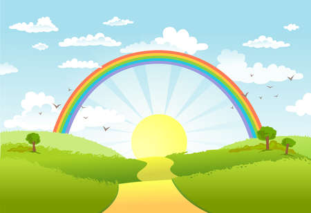 Rural scene with rainbow and bright sun, house and trees on sunny day Vectores
