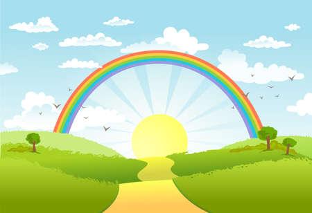 Rurale scena con arcobaleno e sole splendente, la casa e gli alberi sulla giornata di sole Archivio Fotografico - 38611701
