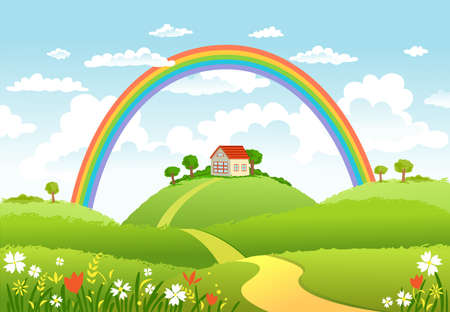 tranquil scene on urban scene: Rural scene with rainbow and green field, house and trees on sunny day