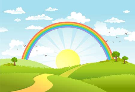 dia soleado: Escena rural con el arco iris y el sol brillante, la casa y los árboles en un día soleado