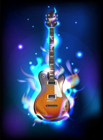 flames vector: Burning guitar in blue flames, vector image  Illustration