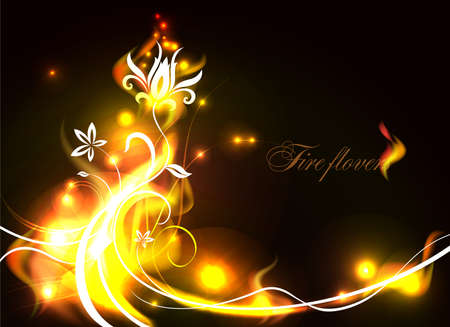 Vector background with beautiful flowers as fire flames