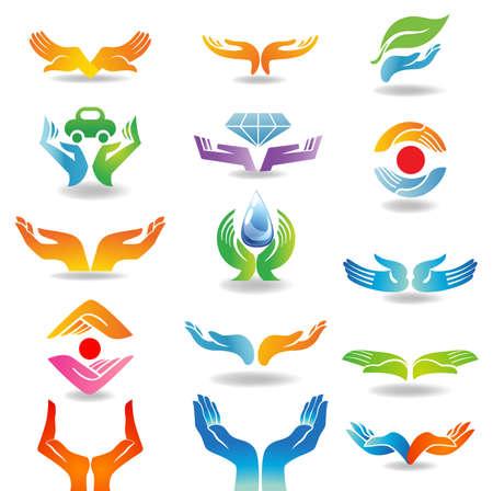 elements: Elementos del diseño con las manos abiertas que mantienen y protegen