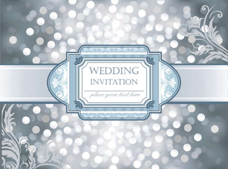 silver ribbon: Vector Amazing Wedding invitation on silver glittering background in hearts