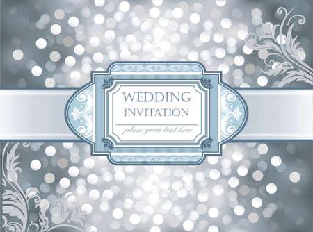 bodas de plata: Vector increíble boda invitación de plata fondo que brilla en los corazones