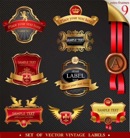 Ornamental labels set in red and gold colors.  Vector