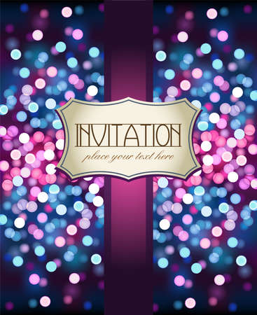 purple pattern: Amazing violet invitation on glittering background Illustration