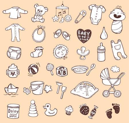 teteros: Conjunto de iconos a mano de juguetes para bebés, comida, accesorios. Vectores