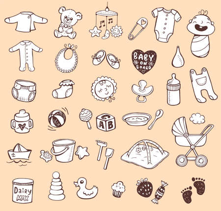 Set of hand-drawn icons baby toys, food, accessories. Vector