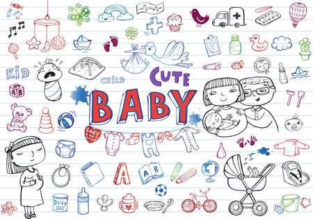 lactante: Conjunto de iconos a mano de juguetes para beb�s, comida, accesorios. Vectores