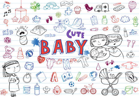 mother and infant: Set of hand-drawn icons baby toys, food, accessories.