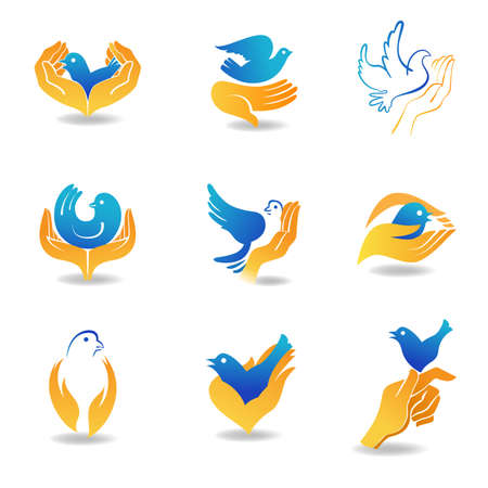 hands in the air: Design elements bird in hands, which symbolize care and tenderness.
