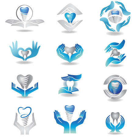 incisor: Dental implants symbol collection. Clean and bright designs. Illustration