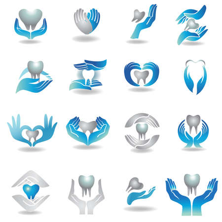 healing: Dental medicine symbol collection. Clean and bright designs.