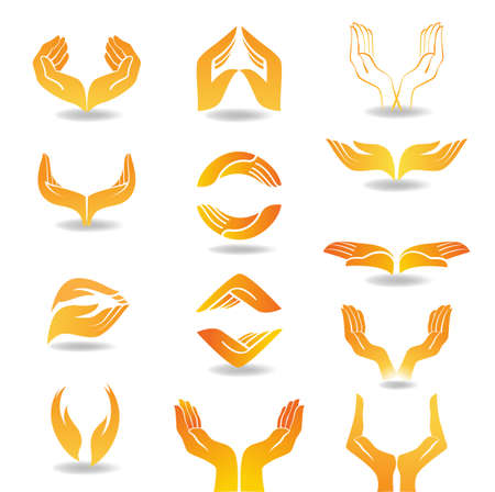 Les éléments de conception avec les mains ouvertes qui détiennent et protègent Vecteurs