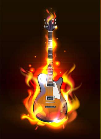 fuoco e fiamme: Vector chitarra in fiamme di fuoco su sfondo nero
