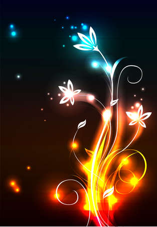 original sparkle: Modern background with glowing flowers, vector illustration Illustration