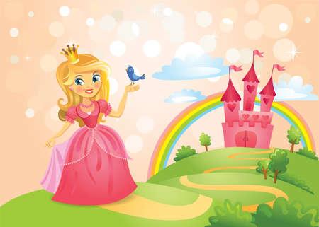 sol caricatura: Cuento de hadas del castillo y hermosa de la princesa Vectores