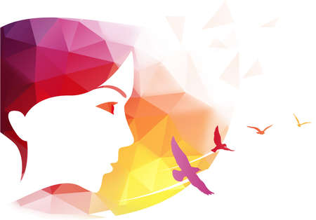 feminize: Abstract modern background with woman face.