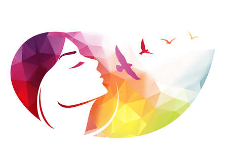 birds eye: Abstract modern background with woman face.