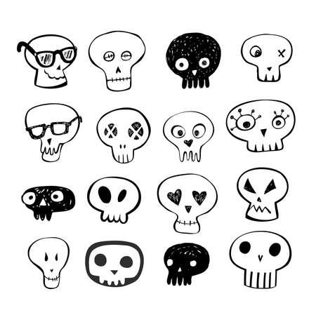 Skulls doodles vector set Vector