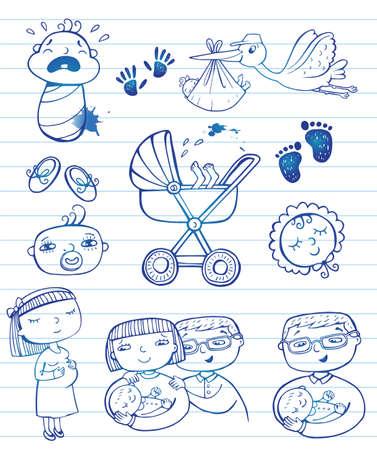 cigogne: Doodle infantile Icon set Illustration