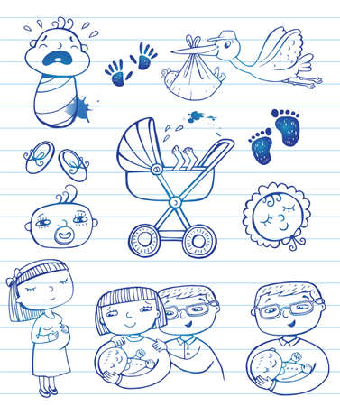 Infant doodle Icon-Set Standard-Bild - 39479918