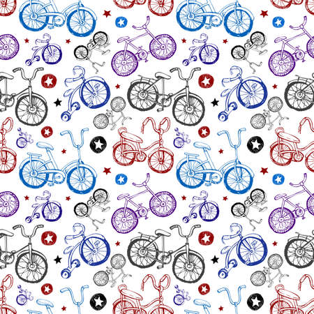 rung: Seamless background with bicycles