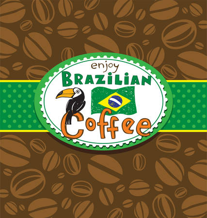 brazilian: Brazilian coffee background Illustration