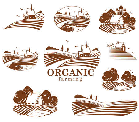 agriculture field: Organic farming design elements.