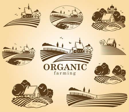 Organic farming design elements.