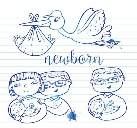 Newborn doodle Icon set