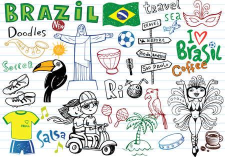 Symbols of Brazil,  イラスト・ベクター素材